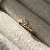 Cushion claw diamond ring in yellow gold