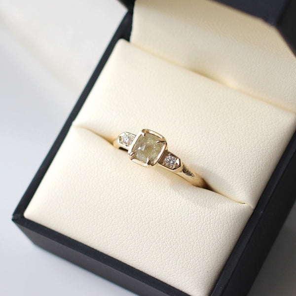 Cushion champgane diamond engagement ring