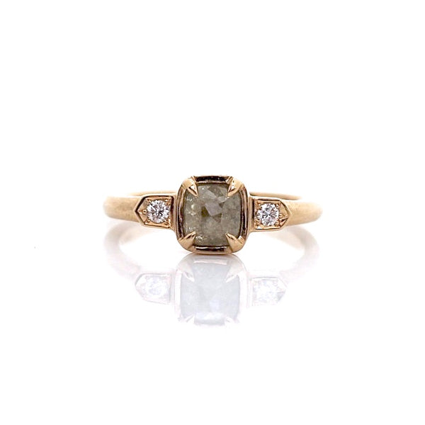Champagne diamond engagement ring in yellow gold