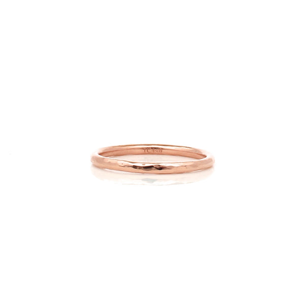 thin hammered women's band in 14k rose gold