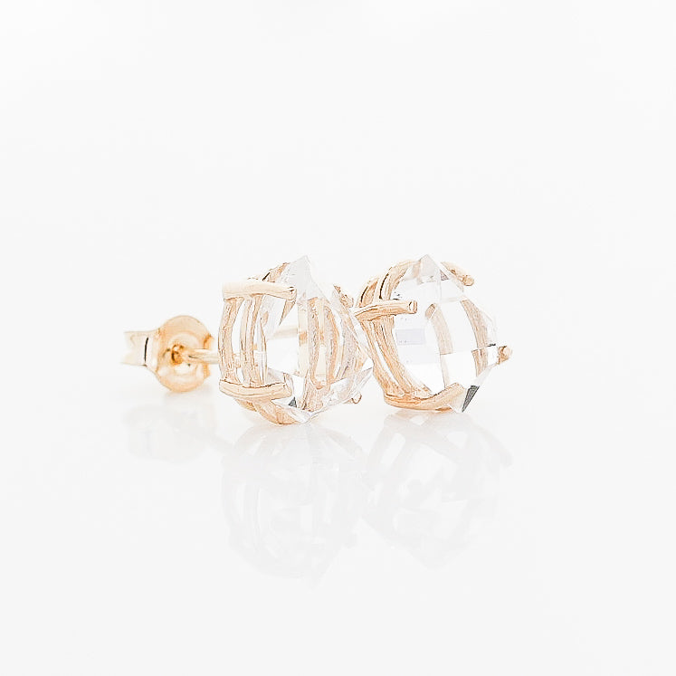 Herkimer Yellow Gold Studs - ready to ship - Yuliya Chorna Jewellery