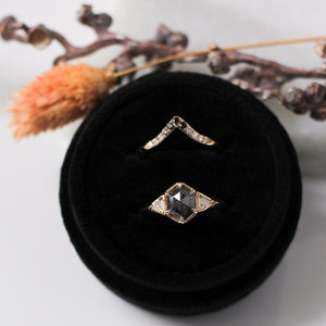 1.05ct Hexagon Black Diamond Ring In Yellow Gold - Yuliya Chorna Jewellery