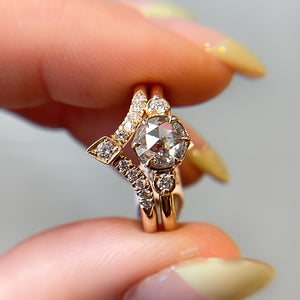 .84ct Luna Round Salt & Pepper Diamond Ring In Yellow Gold, Ready To Ship - Yuliya Chorna Jewellery