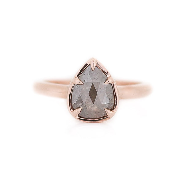 1.25ct Rustic Grey Pear Diamond Solitaire Ring In Rose Gold - Yuliya Chorna Jewellery