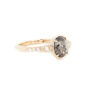 .95ct Black Iris Oval Rose Cut Diamond Ring - Yuliya Chorna Jewellery