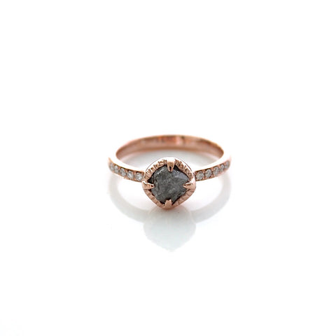 Raw Diamond Rose Gold Solitaire