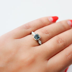 .91ct Cushion Teal Blue Montana Sapphire Ring In White Gold - Ready To Ship - Yuliya Chorna Jewellery