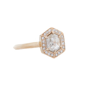 Hexagon Diamond Halo Ring - Yuliya Chorna Jewellery