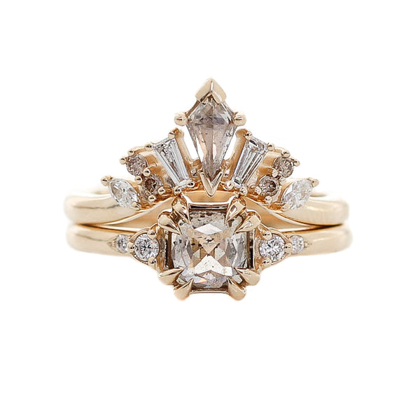 1.68ct Champagne Diamond Crown Wedding Ring Set In Yellow Gold - Yuliya Chorna Jewellery