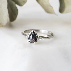 Zaria Black Pear Diamond Ring - Yuliya Chorna Jewellery