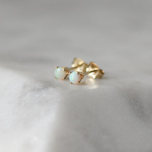 Small Opal Stud Earrings - ready to ship - Yuliya Chorna Jewellery