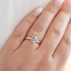 Faceted Salt & Pepper Diamond Solitaire