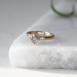 Faceted Salt & Pepper Diamond Solitaire - Yuliya Chorna Jewellery