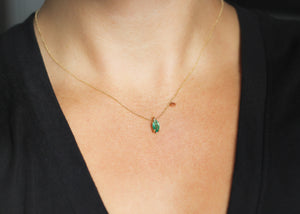 0.70ct Marquise Emerald Drop Necklace - Ready To Ship - Yuliya Chorna Jewellery