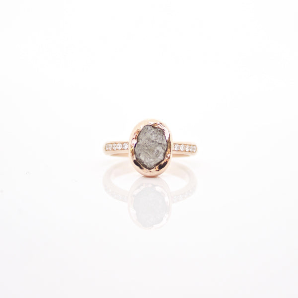 Oval Raw Diamond Solitaire
