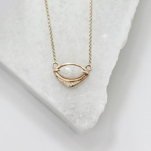 Marquise Eye Opal Necklace - ready to ship - Yuliya Chorna Jewellery