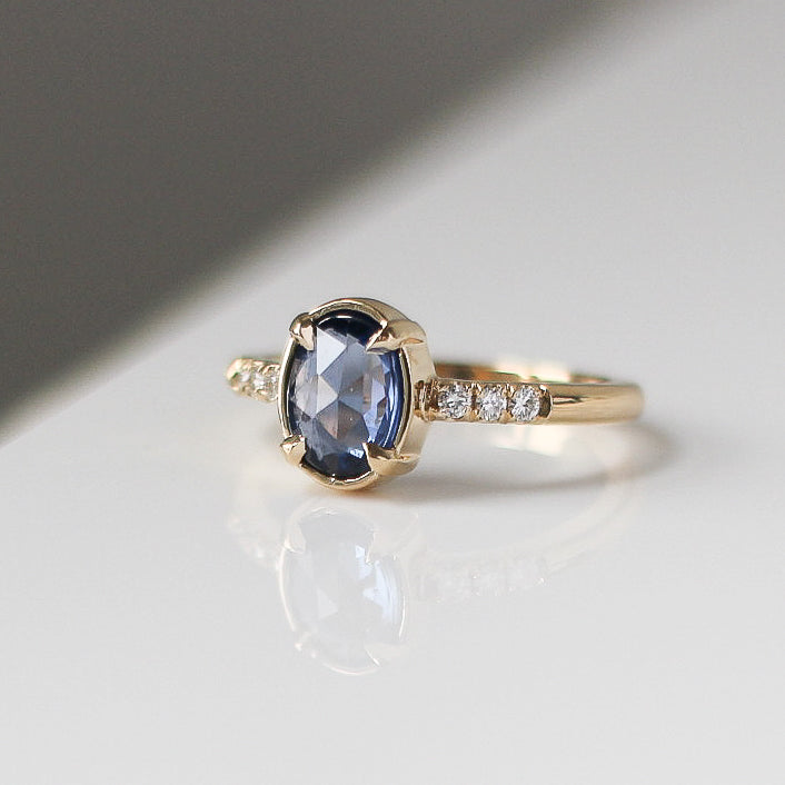 1.38ct Blue Swan Oval Rose Cut Sapphire Ring In Yellow Gold - Yuliya Chorna Jewellery