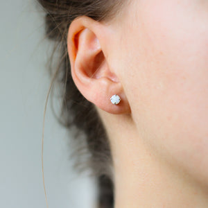 White Opal Silver Stud Earrings - ready to ship - Yuliya Chorna Jewellery