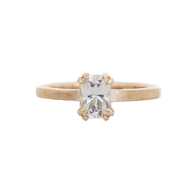 1.12ct Lily Radiant White Sapphire Ring In Yellow Gold - Ready To Ship - Yuliya Chorna Jewellery
