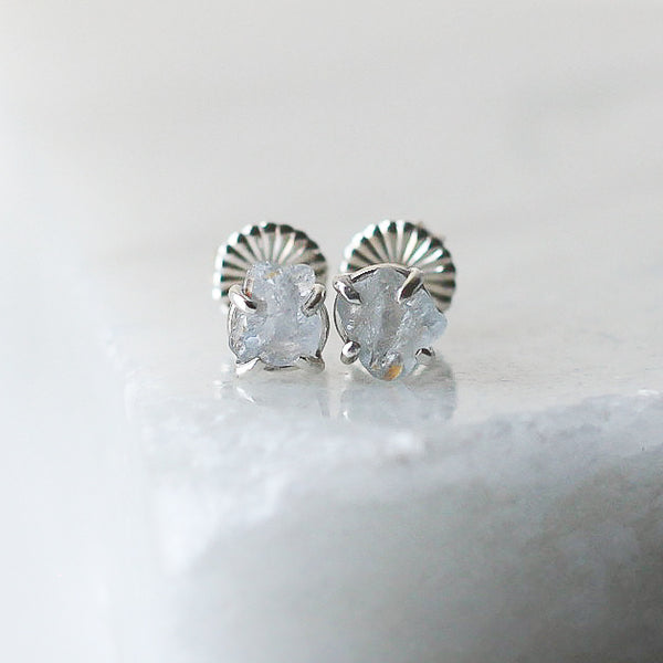 Light Blue Raw Sapphire Silver Studs - ready to ship - Yuliya Chorna Jewellery