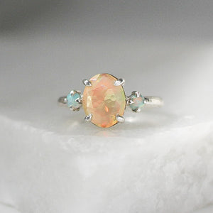 Opal Cocktail Silver Ring - Ready To Ship - Yuliya Chorna Jewellery