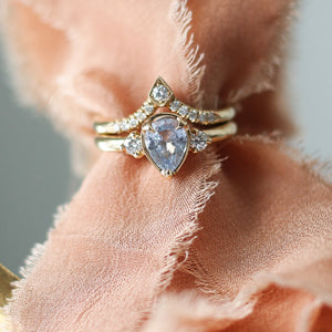 1.10ct Blue Lagoon Pear Cut Sapphire Ring In Yellow Gold,  Ready To Ship - Yuliya Chorna Jewellery