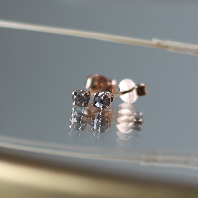 Round Salt & Pepper Rose Cut Diamond Gold Studs, Ready To Ship - Yuliya Chorna Jewellery