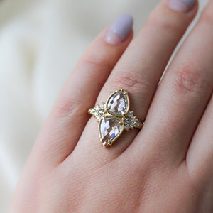 3.16ct Pyrus Double Pear Diamond Ring In Yellow Gold - Ready To Ship - Yuliya Chorna Jewellery