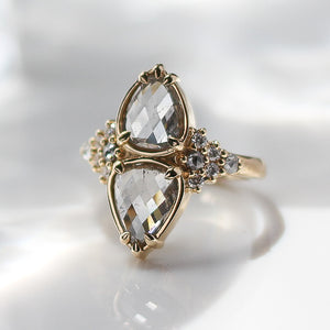 3.16ct Pyrus Double Pear Rose Cut Diamond Ring In Yellow Gold - Yuliya Chorna Jewellery