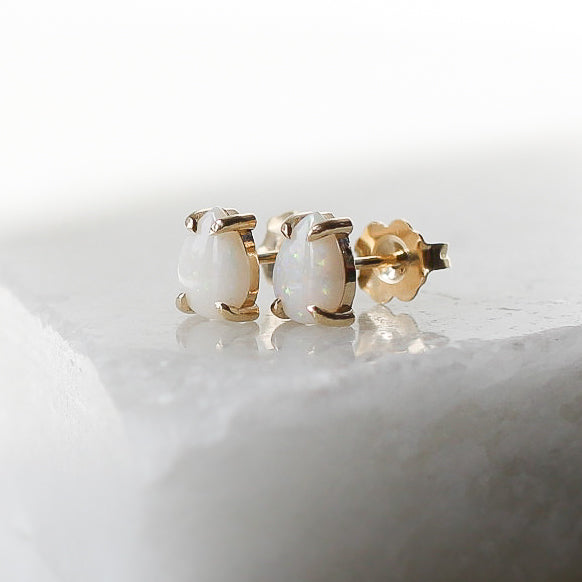 White Opal Pear Gold Studs, Ready To Ship - Yuliya Chorna Jewellery
