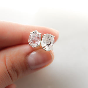 Large Herkimer Silver Studs, Ready To Ship - Yuliya Chorna Jewellery