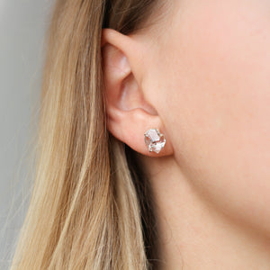Large Herkimer Silver Studs - ready to ship - Yuliya Chorna Jewellery