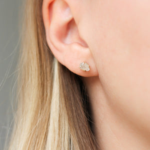 Light Mint Raw Sapphire Gold Studs - ready to ship - Yuliya Chorna Jewellery