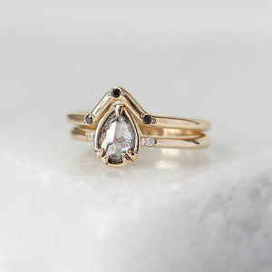 .66ct Zaria Pear Salt & Pepper Diamond Ring In Yellow Gold - Yuliya Chorna Jewellery