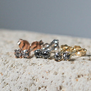 Round Salt & Pepper Rose Cut Diamond Gold Studs - ready to ship - Yuliya Chorna Jewellery