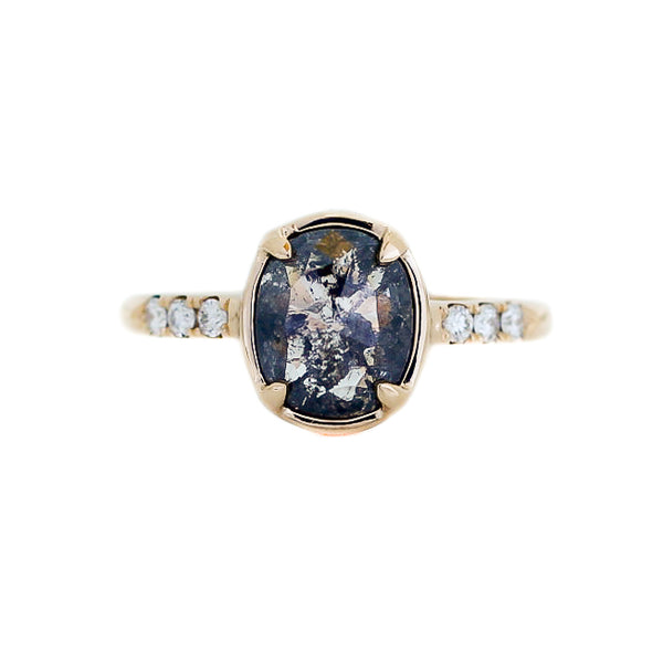 1.58ct Black Swan Oval Diamond Ring in Yellow Gold - Yuliya Chorna Jewellery