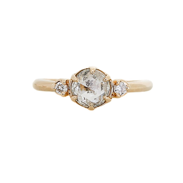 .95ct Luna Round Salt & Pepper Diamond Ring In Yellow Gold, Ready To Ship