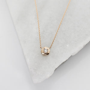 Faceted Droplet White Diamond Necklace - Yuliya Chorna Jewellery