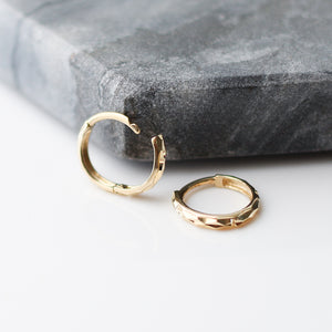 Faceted Hoops in Yellow Gold - ready to ship - Yuliya Chorna Jewellery