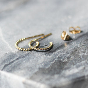 Twisted Hoops in Yellow Gold - ready to ship - Yuliya Chorna Jewellery