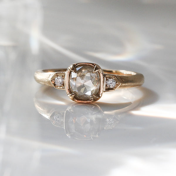 .91ct Tribus Cushion Diamond Ring in Yellow Gold - ready to ship - Yuliya Chorna Jewellery