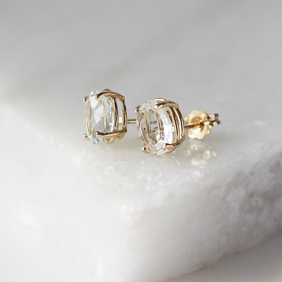 White Topaz Stud Earrings - ready to ship - Yuliya Chorna Jewellery