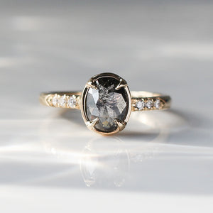 0.99ct Black Swan Oval Diamond Ring in Yellow Gold - Ready To Ship - Yuliya Chorna Jewellery