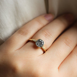 1.25ct Allo Salt & Pepper Cushion Cut Diamond Ring - ready to ship - Yuliya Chorna Jewellery