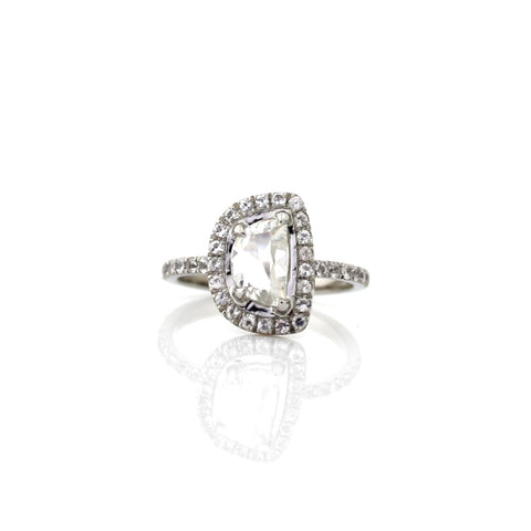 Half Moon Diamond Halo Ring