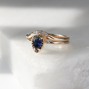 Blue Pear Sapphire Sun Ring - ready to ship - Yuliya Chorna Jewellery