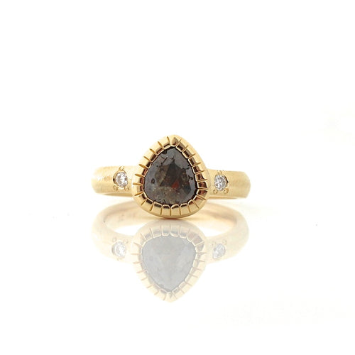 Cognac Pear Diamond Ring - Yuliya Chorna Jewellery