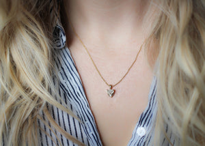 Half Moon Diamond Sun Necklace - ready to ship - Yuliya Chorna Jewellery