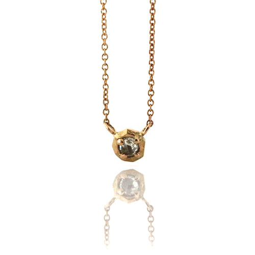 Faceted Droplet Diamond Necklace