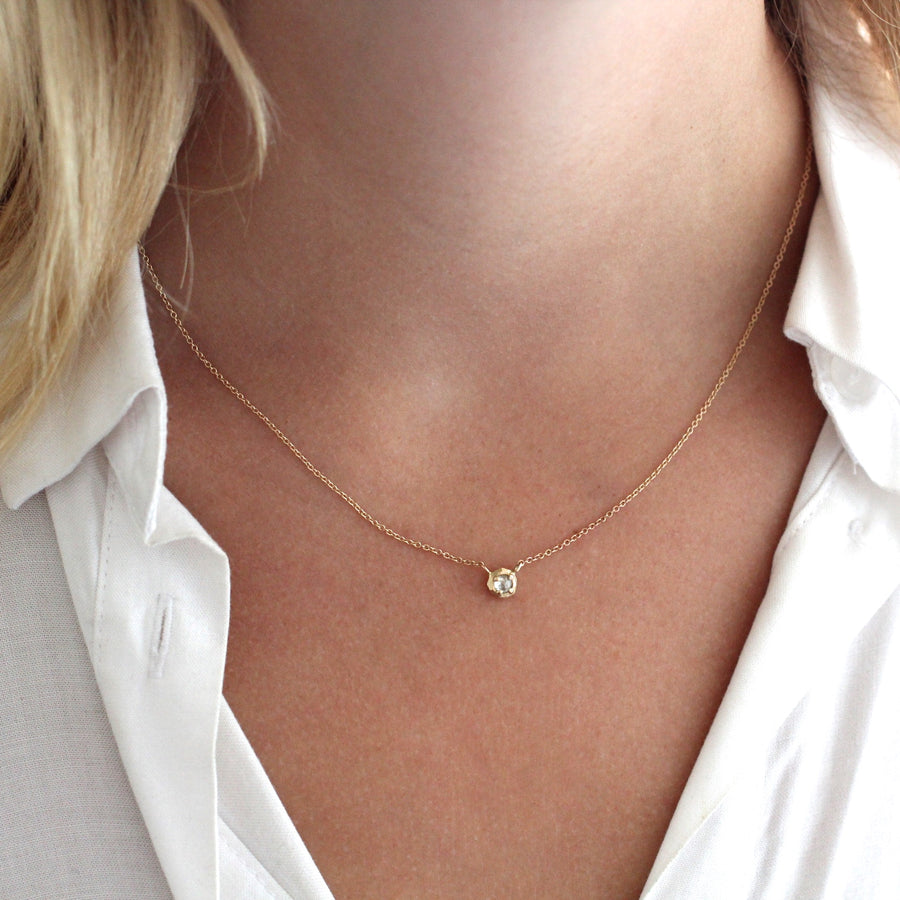 Faceted Droplet Salt & Pepper Diamond Necklace - Yuliya Chorna Jewellery